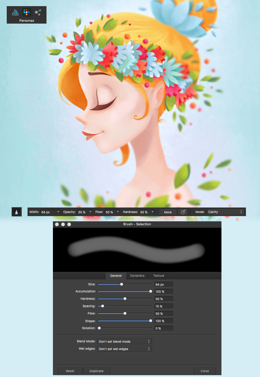affinity designer sharpen brush tool