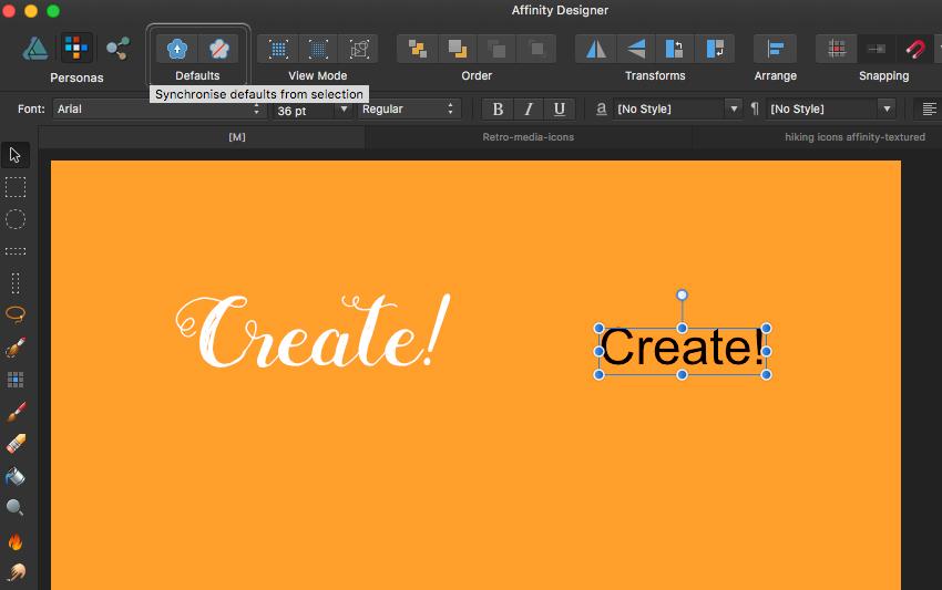 affinity designer defaults function