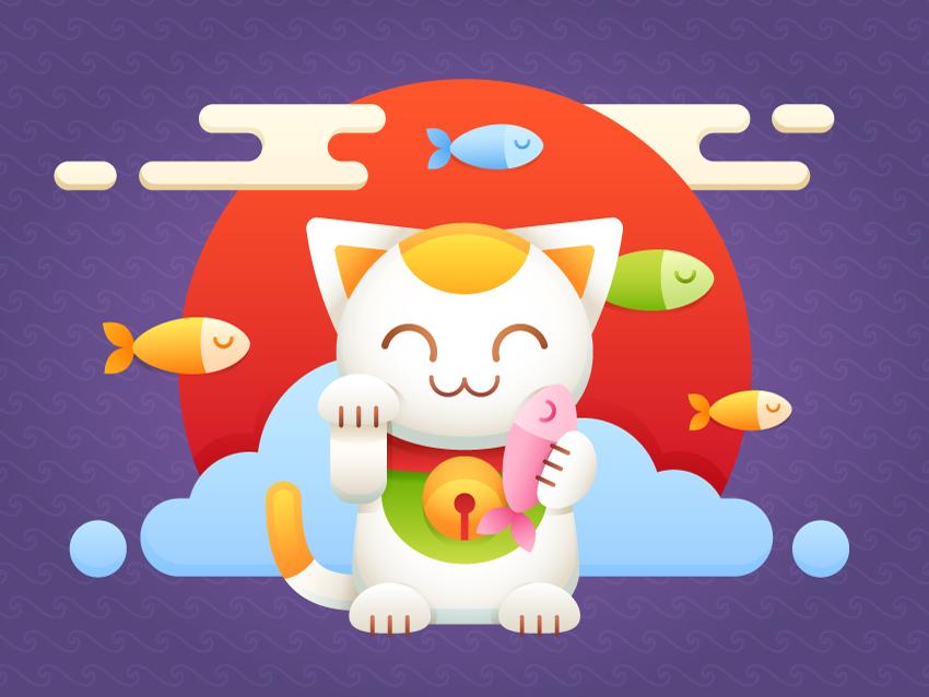 Illustrator绘制卡通可爱的招财猫效果,破洛洛
