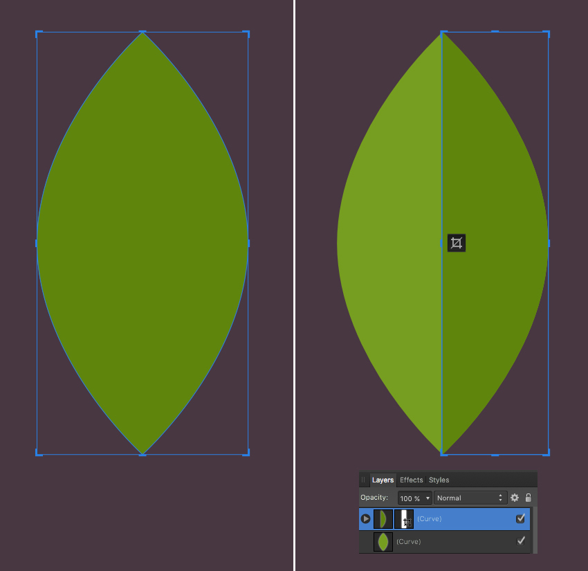 make a leaf from ellipse 2