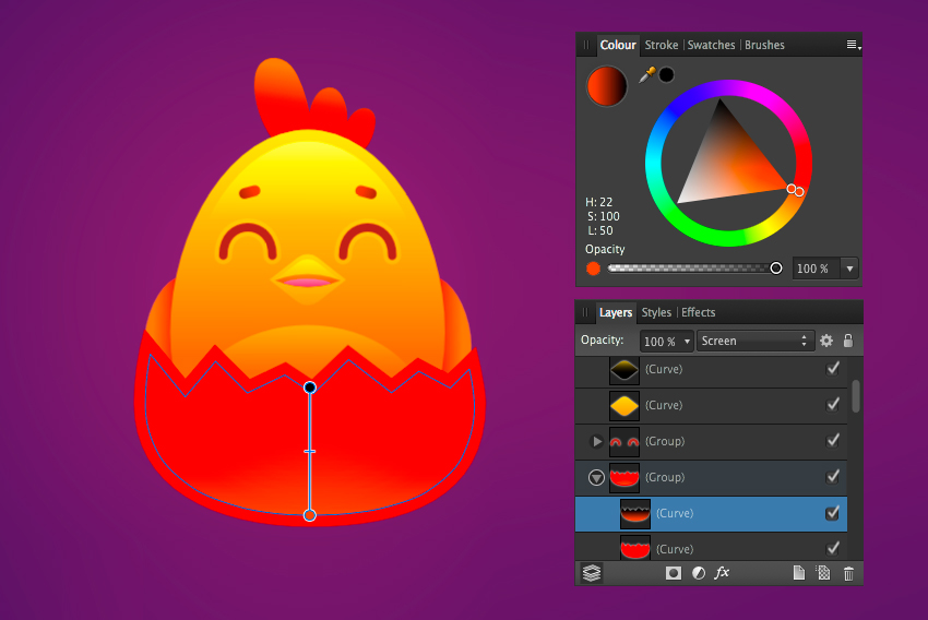 add a highlight in screen mode to the eggshell