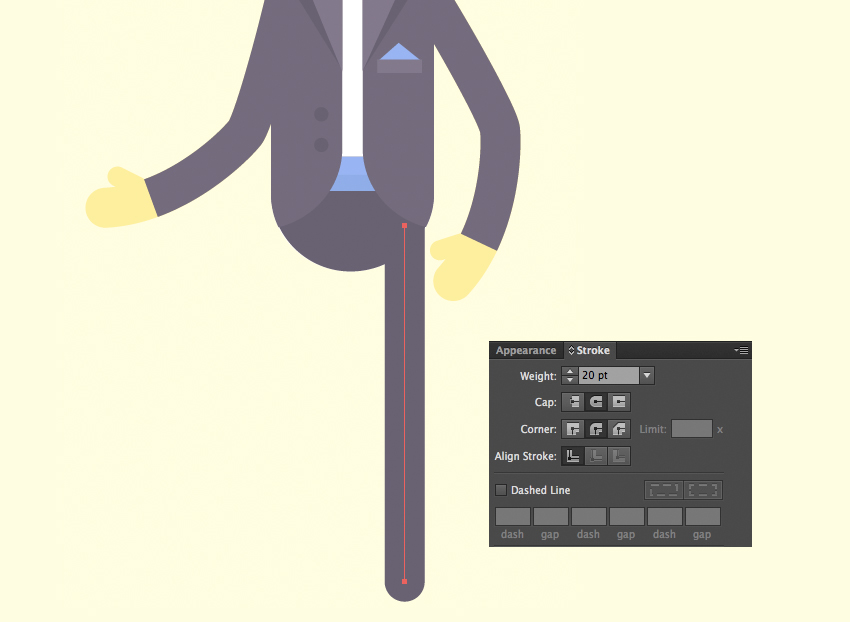 use the Line Segment Tool to make the leg