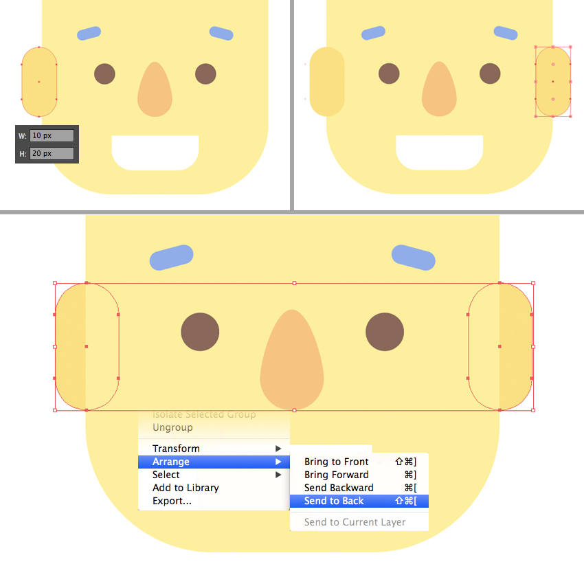 make the ear from rounded rectangles