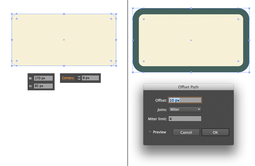 make a screen from rectangle and offset path