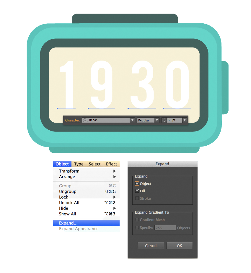 add time to the display using type tool