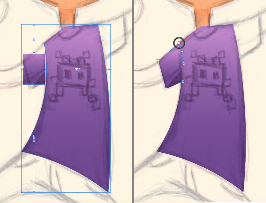 make a sleeve from the rectangle