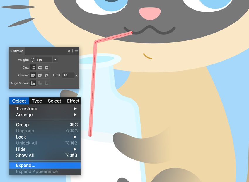 create a straw with the pencil tool
