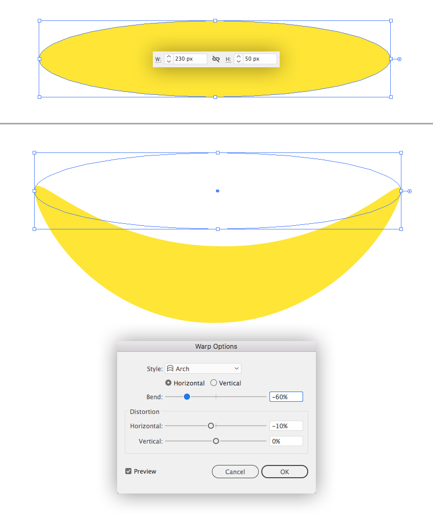 make a banana from ellipse