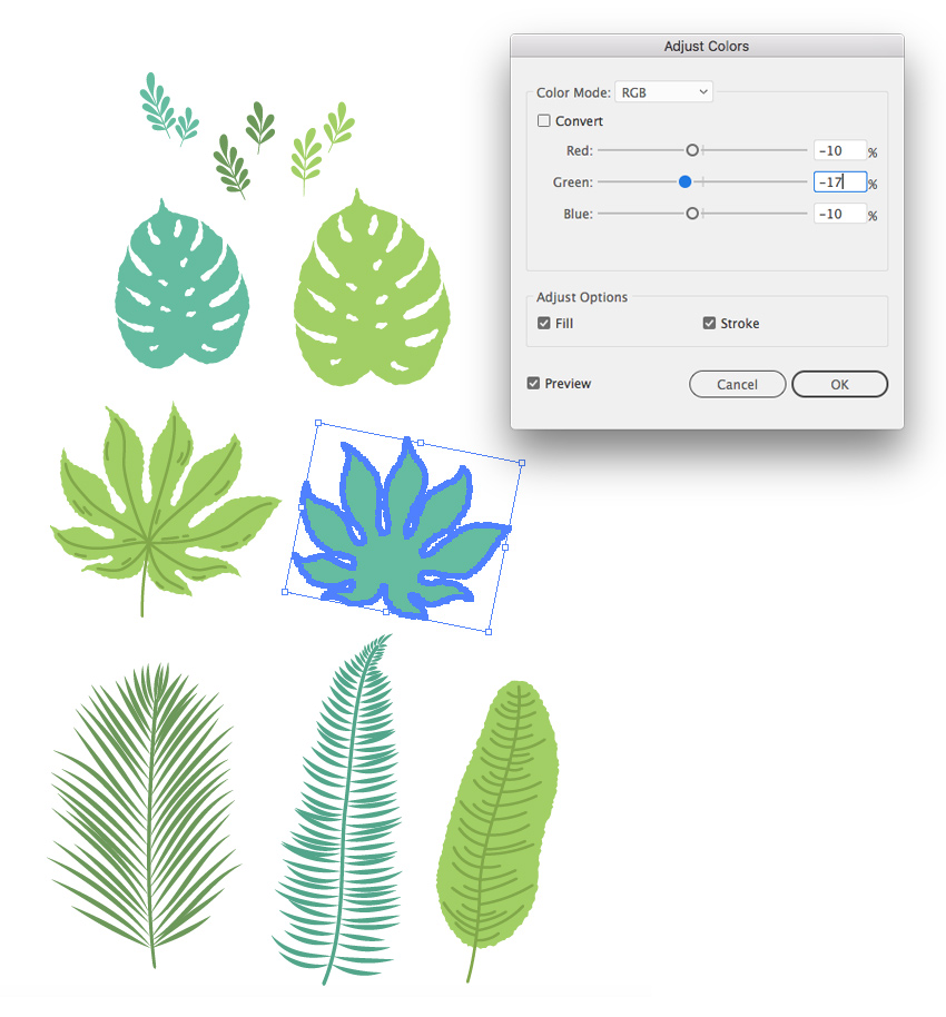 recolor the leaves