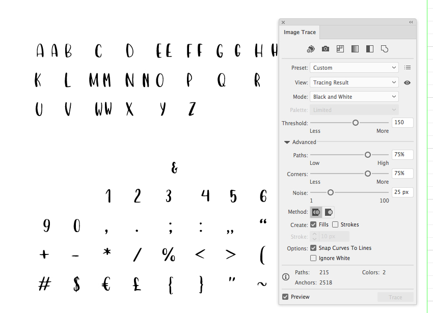 trancing the font in adobe illustrator