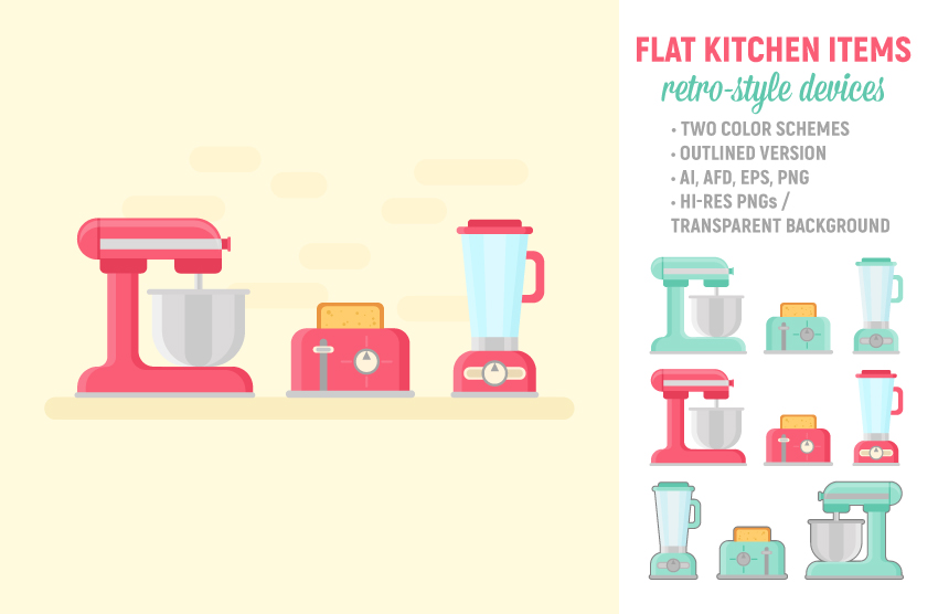 Retro Kitchen Items Set