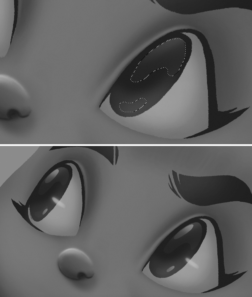 add highlights to the eyes