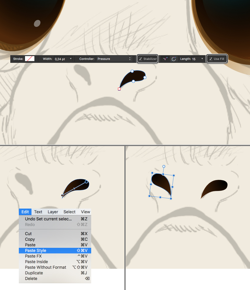 use the pencil tool for nostrils