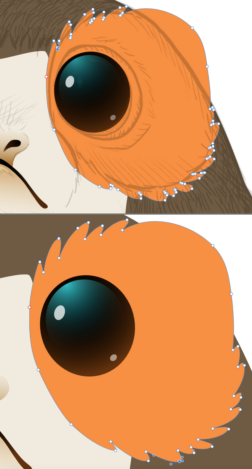 Draw a feathered shape around the eye