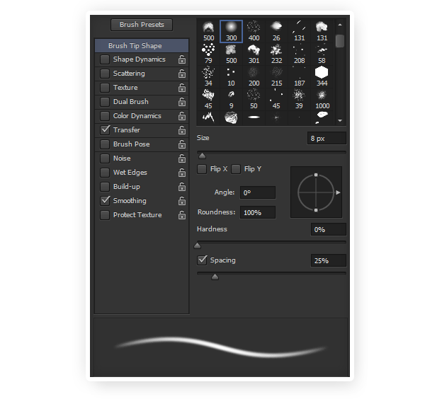 soft brush settings photoshop