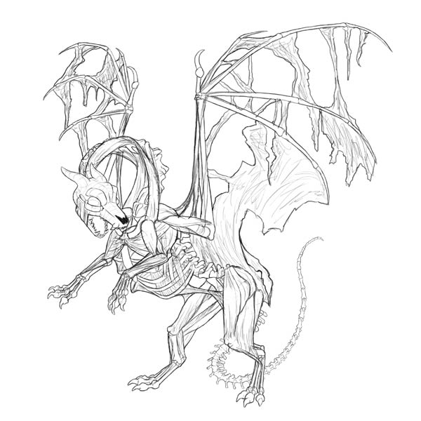 zombie dragon sketch line art