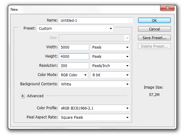 photoshop size settings