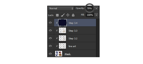 photoshop opacity change painting