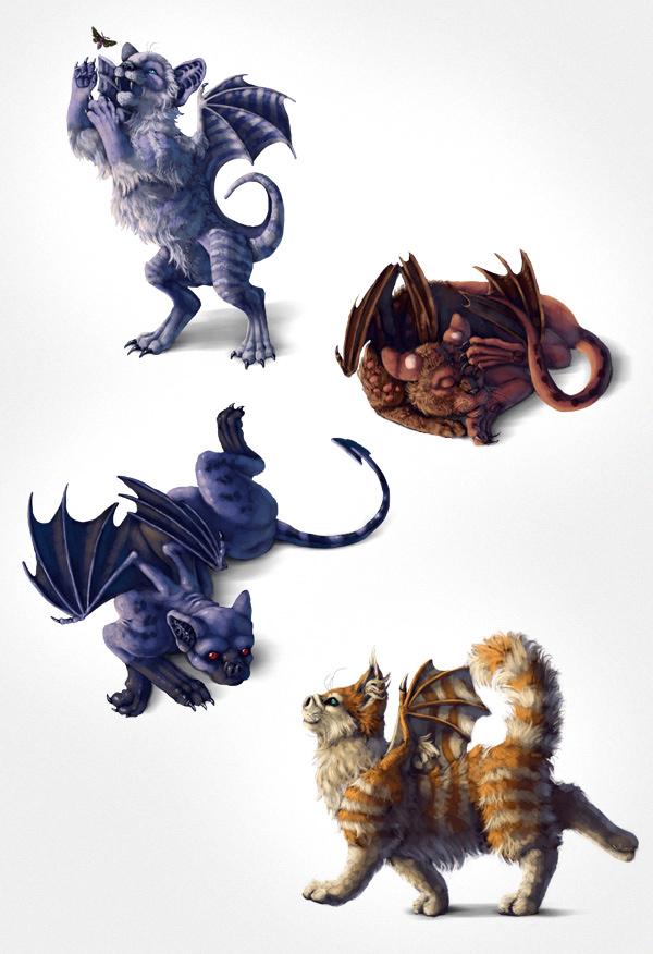 Final image of four bat-cats
