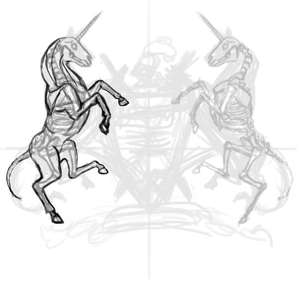 thiết kế áo thun phác thảo cơ unicorn