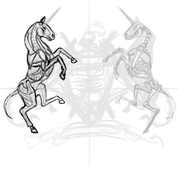thiết kế áo thun phác thảo đầu kỳ lân