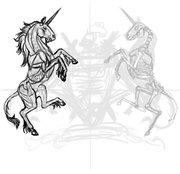 design tshirt sketch unicorn