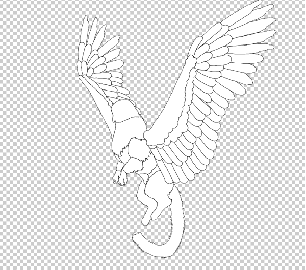 animal animation aéreas griffin asas voadoras desenhar photoshop corpo lineart 4