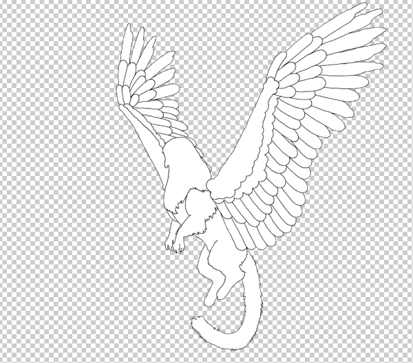 animal animation aéreas griffin asas voadoras desenhar photoshop corpo lineart 5