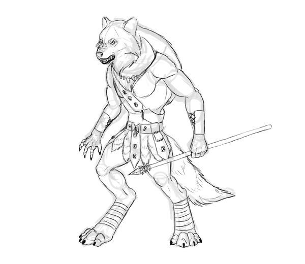 character design drawing werewolf sketch
