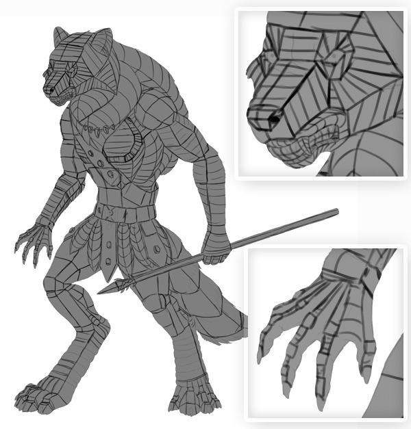 Character Design Definition : Design a model sheet of werewolf warrior in adobe