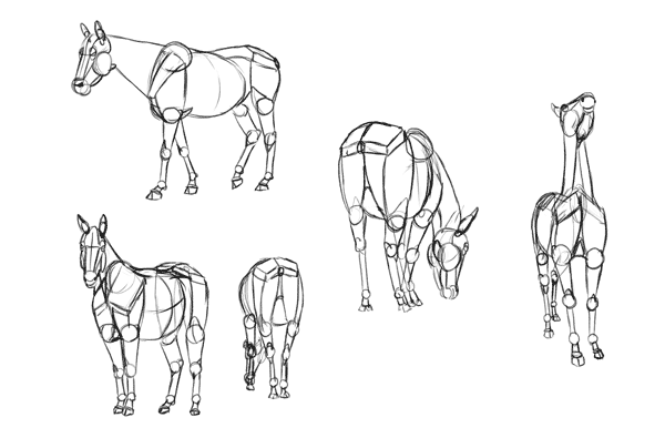 how to draw from imagination horse animal blocks