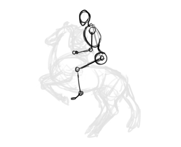 how to draw horse rider pose sitting rearing 3