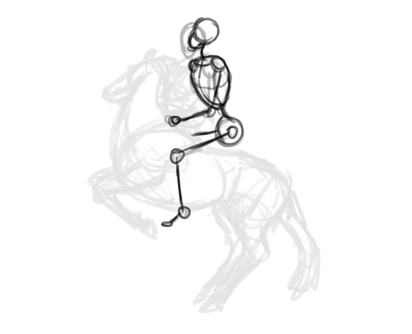 how to draw horse rider pose sitting rearing 4