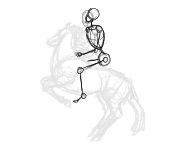 Como desenhar cavaleiro posar sentada Criação 4