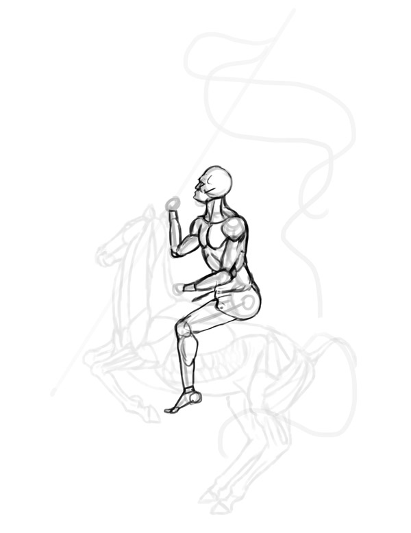 anatomia cavalo cavaleiro Desenho 4