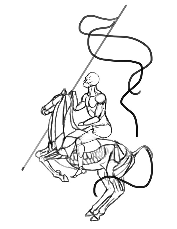 anatomia cavalo cavaleiro Desenho 5