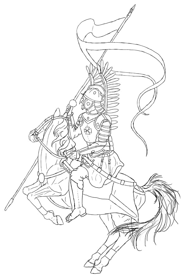 how to draw polish winged hussar 2