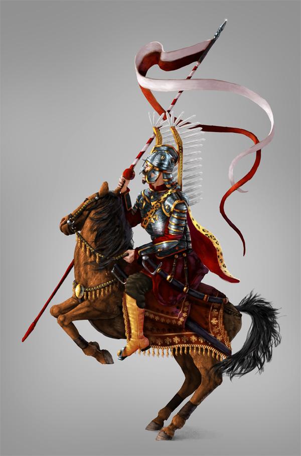 pintar photoshop Digitais polonês Hussar voado