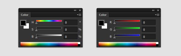 painel de cores photoshop valor de matiz saturação brilho