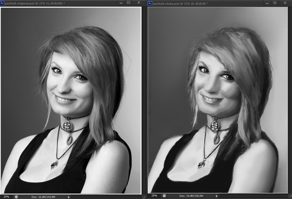 como praticar pintura em tons de cinza valor de referência photoshop 14