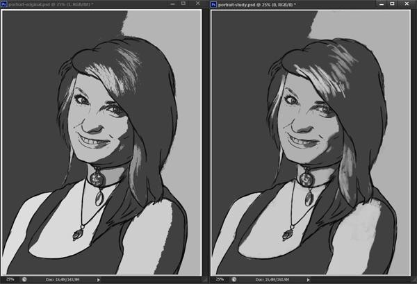 como praticar pintura em tons de cinza valor de referência photoshop 7
