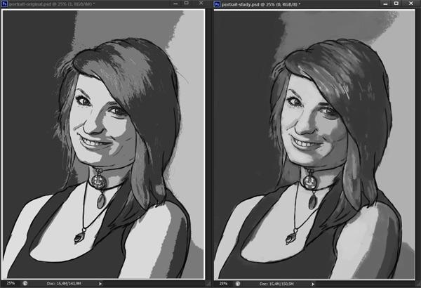 como praticar pintura em tons de cinza valor de referência photoshop 9