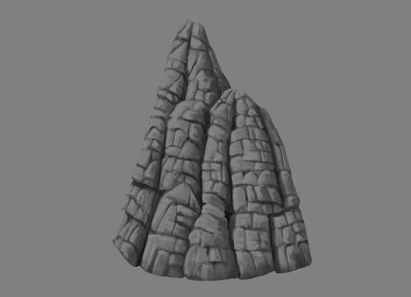 photoshop rock mountain paint cracks shading detailed