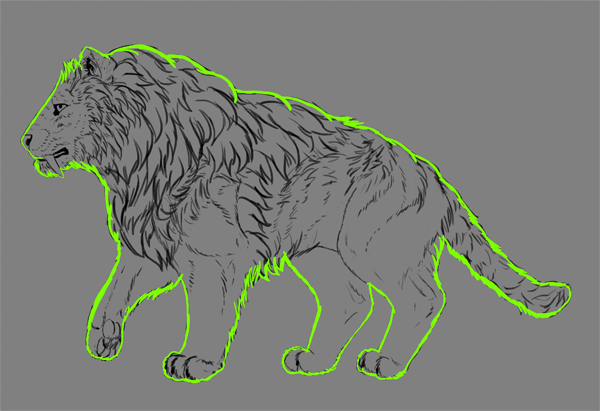 digital painting fur outline