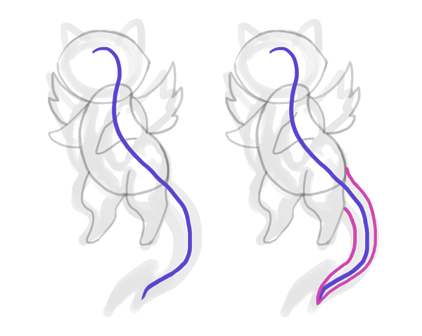 design draw mascot tail spine