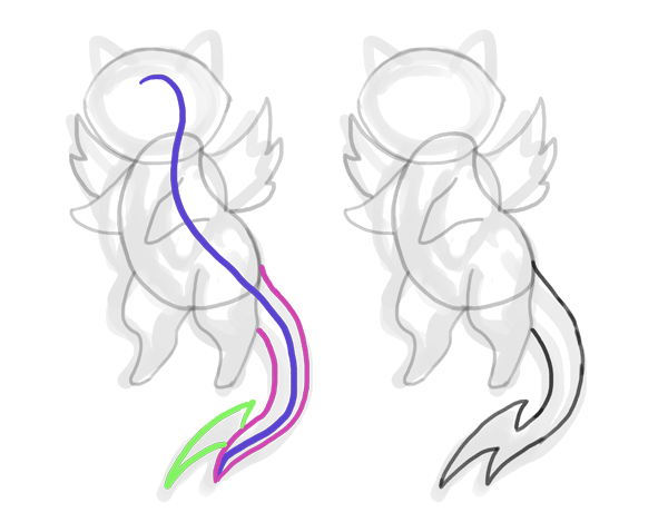 design draw mascot tail bolt lighting