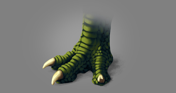 photoshop dragon claw foot warm light blended softly