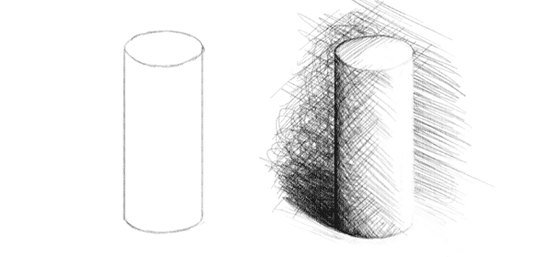 drawing shading lines cross hatching 3d form achieve depth
