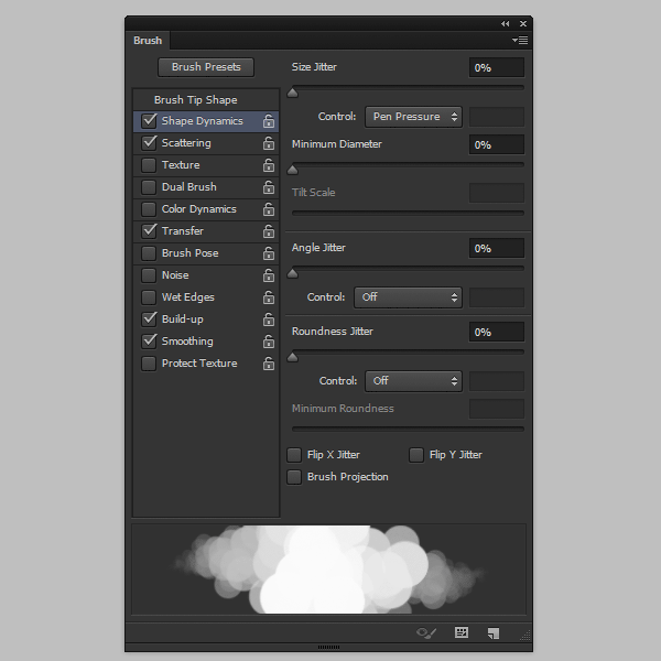 photoshop create cloud brush shape dynamics