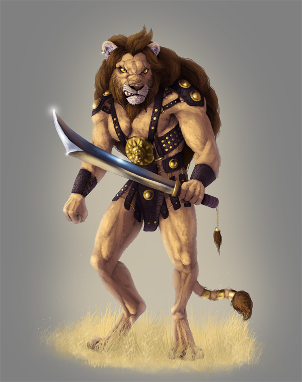 photoshop lion warrior illustration tutorial lineless